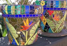 mosiac garden art | mosaic garden art- love the colours used on these pots! Clever use of strong contrasting shades.