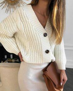 Solid V Neck Buttoned Long Sleeve Cardigan, Beige Cardigan, Sweater Cardigan, V Neck Cardigan, Ribbed Cardigan, Streetwear Mode, Streetwear Fashion, Winter Trends, Cardigan Outfits, Cardigan Fashion