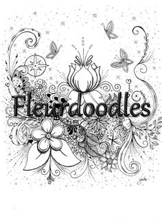 adult coloring page, printable, butterflies, botanical, romantical, floral, stars, by fleurdoodles