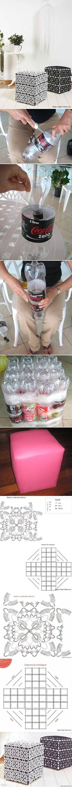 Circo DIY Ottoman Out of Plastic Bottles -.Circo DIY Ottoman Out of Plastic Bottles - looks like it takes about I probably wouldn Plastic Bottle Crafts, Plastic Bottles, Soda Bottles, Water Bottles, Diy Projects To Try, Craft Projects, Craft Ideas, Diy Ideas, Home Crafts
