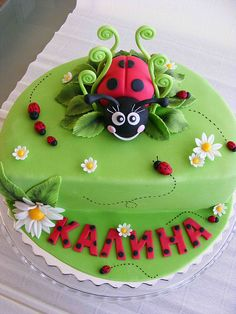 Soooo cute!!!  Lady bug cake  Like the shape idea a lil diferent but I'd feel like I'm ripping them off a lil too lol