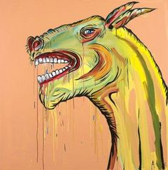 Mega Fauna (Horse/Roo) by Adam Cullen Indigenous Art, Art Painting, Neon Painting, Australian Art, Artist, Moose Art, Painting, Art Movement, Contemporary Art