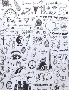 Little and easy doodles when you are bored. I also like how the Fall Out Boy log… Little and easy doodles when you are bored. I also like how the Fall Out Boy logo is casually mixed into the other designs Doodle Drawings, Cute Drawings, Drawing Sketches, Drawing Poses, Simple Doodles Drawings, Cute Little Drawings, Drawing Ideas, Sketching, Notebook Doodles