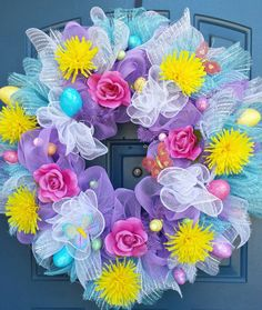 Easter Deco mesh wreath by WonderfulWreathsKim on Etsy Easter Wreaths, Holiday Wreaths, Wreath Crafts, Diy Wreath, Ideas Actuales, Deco Mesh Ribbon, Summer Wreath, Spring Wreaths, Easter Crafts