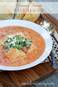 When I spotted this Tuscan Ravioli Soup recipe over at my friend Gina's blog last winter, I knew I needed to make it immediately! It starts with a creamy tomato base that's loaded with Italian saus...