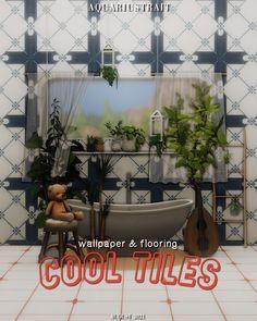 ✿Roli Cannoli CC Findz Corner✿ — aquariustrait: Cool Tiles 🛁 Set Peek-a-boo!... Only Teen, Sims Building, Tile Wallpaper, Cottage Living, Sims Cc, All Wall, Rustic Barn, Girls Dream, Wall Tiles