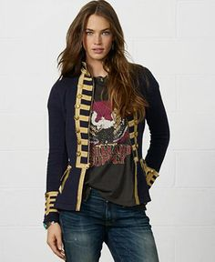 Denim & Supply Ralph Lauren Zip-Front Braided Military Blazer - Denim & Supply Shop All - Women - Macy's
