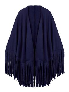 Women Pure Color Fringed Suede Cardigan Cappa - Gchoic.com