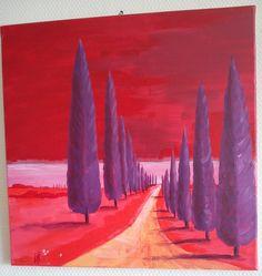 toscanisch in rot-lila; acryl 40x40