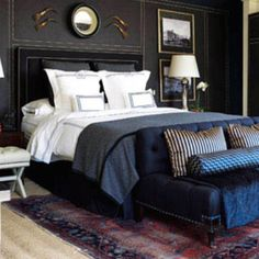 Very cool masculine room idea. Love the colors and sheen of fabrics, patterns too.