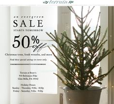 12.17.12 Christmas trees, fresh wreaths, and more are 50 percent off at Terrain at Styer's.