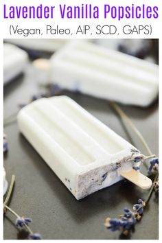 Lavender Vanilla Popsicles are the perfect summer treat. So easy to make and so, so tasty, these Lavender Vanilla Popsicles are going to become your new favourite paleo dessert. When it's hot outside these Lavender Summer Dessert Recipes, Spring Recipes, Paleo Dessert, Vegan Desserts, Brunch Recipes, Primal Recipes, Dairy Free Recipes, Real Food Recipes, Vegan Recipes