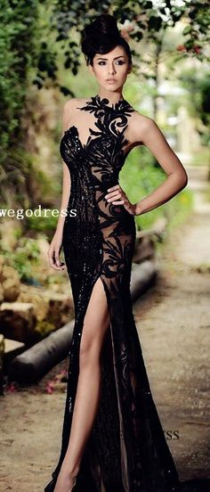 black lace split prom dress