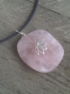 Rose Quartz Lotus Pendant Cute pendant idea.