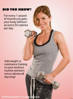1 lb of muscle burns an extra 50 calories a day