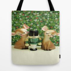 The Nutcracker Tote Bag by Vintage  Cuteness - $22.00 #vintage #nutcracker #christmas #xmas #tote #bag #deer #fawn #bambi #kitsch #green #floral #flowers #artsy