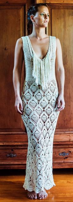 @roressclothes closet ideas #women fashion outfit #clothing style apparel handmade long crochet dress