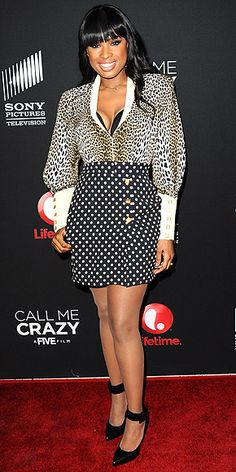 JENNIFER HUDSON Whos afraid of risks? Not this girl. The singer doesnt shy away from wearing print-on-print, accentuating her curves in a low-cut blouse and a high-waist polka-dot skirt to the premiere of Call Me Crazy: A Five Film in West Hollywood.