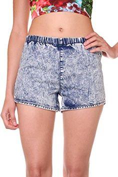 Exocet Womens Plus Size light Acid Wash Denim Shorts