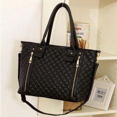 Black Retro Women Office Lady Quilted Shoulder Tote Bag Handbag