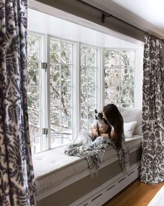 Window Seat Curtains cozy up a bay window with pretty curtains an upholstered seat