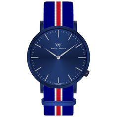 A round rose blue case with classically curved lugs,elegant hue, the silver hands match the case colors and underscore their prominent design,color-coordinated NATO strap,inimitable and upscale watch.