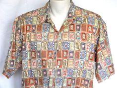 Tori Richard Orange Tan Squares Cotton Lawn XLarge Mens Hawaiian Shirt #ToriRichard #Hawaiian