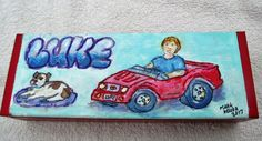 Luke's Pedal Car Small Box completed for a coworker Krylon paint and craft paint and Marker and coated in Polycrylic Urethane Painted Boxes, Hand Painted, Krylon Paint, Craft Paint, Pedal Cars, Small Boxes, Birdhouses, Wood Boxes, Marker