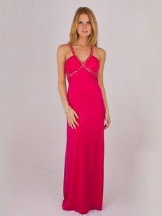 Chiffon V-neckline Diamond Crisscross Straps Accented Full Length Evening Dresses