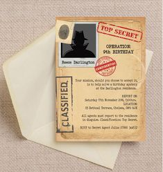 Throw a top secret birthday bash with this detective themed invitation that you can customise with all your confidential party information! Spy Birthday Parties, 14th Birthday, Birthday Party Invitations, Secret Agent Party, Secret Party, Mission Impossible Party, Detective Party, Army Party, Mystery Parties
