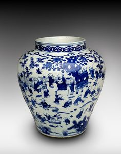 """Hundred Boys"" Jar, 1522-1566, Ming dynasty (1368-1644), Jiajing period. Porcelain with underglaze blue decoration. Gift of Mrs. Herbert Nadai and Thomas Beal Jr. in memory of Mr. and Mrs. Thomas P. Beal, 1982. E81696 © 2001-2014 The Peabody Essex Museum."