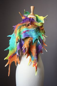 "Felted scarf: Merino wool , silk chiffon, hand-dyed, multicolored, by ""Vital Temptation, Felt Art Adventure"""
