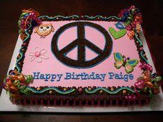 Peace Birthday Cake by Cakes By Jen, via Birthday Party For Teens, Birthday Cake Girls, 8th Birthday, Birthday Ideas, Peace Sign Cakes, Peace Cake, Buttercream Fondant, Fondant Cakes, Cupcake Cakes