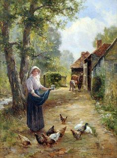 Ernest Walbourn (British, 1872 - Farmyard Scene with a Girl Feeding Chickens, farmer and Shire horse nearby. Classic Paintings, Beautiful Paintings, Landscape Art, Landscape Paintings, December Wallpaper, L'art Du Portrait, Farm Art, Ouvrages D'art, Country Art