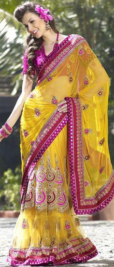 #Yellow Net #Lehenga Style #Saree With Blouse @ $198.48