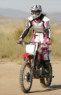 "this is the only time i am ok with pink as a fashion statement- since it SCREAMS: ""GIRL ON THIS MOTO!"""