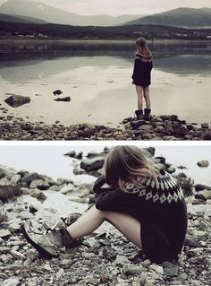 boots, warm sweater and a lake.