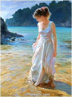 Incredible detail in this painting of a lady on the beach, by Vladimir Volegov Mais Painting People, Woman Painting, Figure Painting, Painting Art, Figurative Kunst, Art Pictures, Photos, Beach Art, Portrait Art