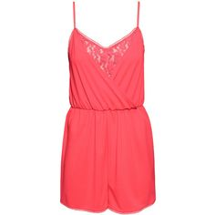 H&M Sleeveless playsuit (£4) ❤ liked on Polyvore featuring jumpsuits, rompers, playsuits, shorts, coral, playsuit romper, sleeveless romper, h&m, red lace romper and red romper