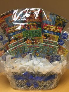 GIFTS FOR HIM Scratch off bouquet, Lottery ticket bouquet, Get well soon gift baskets, Best of Luck gift basket Fundraiser Baskets, Raffle Baskets, Gift Baskets, Diy Birthday Decorations, Birthday Diy, Lottery Ticket Tree, Scratch Off Tickets, Get Well Soon Gifts, Diy Gifts For Boyfriend