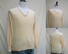 1970s 1980s Men's Cream Colored Christian Dior Golf Sweater, Size M, Made in the USA by HiddenTreasureHunter on Etsy