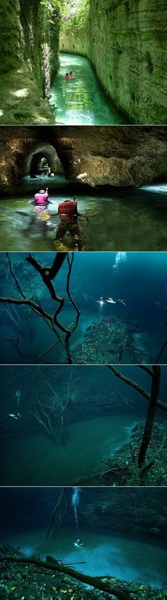Yowza, fancy a swim in an underwater river? Yup, this nifty little phenomenon exists in Mexico's Yucatán Peninsula called Cenote Agnelita. It's a natural formation where hydrogen sulphate mixes with s