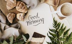 Herunterladen hintergrundbild guten morgen, frühstück, kaffee, croissants, schokolade