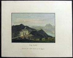 1845 J.H. Locher Scarce -  RIGI STAFFEL MOUNTAIN Schwyz - handcolored aquatint