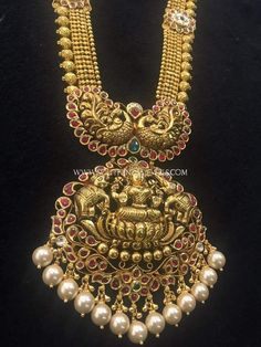 Nakshi Work Lakshmi Necklace Designs, Nakshi Work Temple Haram Designs, Nakshi Gold Haram Collections.