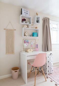 Easy ideas and inspiration how you can transform your childs toddler room into a functional space for a school aged child. This Scandinavian inspired bedroom reveal will show you how well neutrals work with all shades of pink and minimalist furniture. Scandi Bedroom, Room Ideas Bedroom, Dream Bedroom, Bedroom Inspo, Diy Bedroom Decor For Girls, Art For Bedroom, Kids Bedroom Ideas For Girls, Small Girls Bedrooms, Scandinavian Bedroom Decor