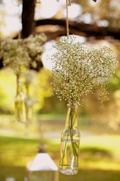 {DIY Tip} Collect empty and cleaned bottles and fill them with water and small bunches of Baby's Breath, before suspending them with twine that is tied around the neck of each bottle.