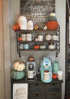 home storage, space-saving solutions, home organization ideas, kitchen storage ideas, small bathroom organization ideas Coffee Bar Home, Home Coffee Stations, Beverage Stations, Coffee Bars, Coffee Corner, Coffee Nook, Coffee Shops, Coffee Lovers, Fall Home Decor