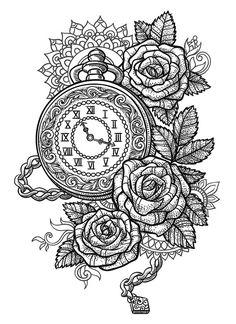 Sets Pocket Watch, Roses and Mandala temporary tattoos