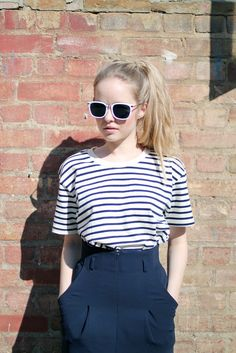 Ivory and Navy Stripe T-shirt